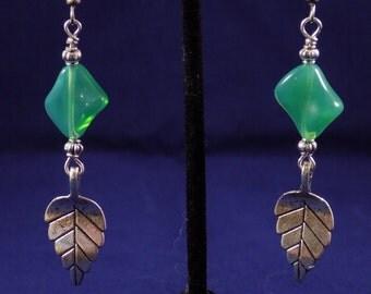 Milky glass leaf earrings