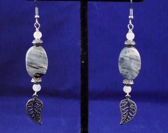 Silver leaf jasper earrings