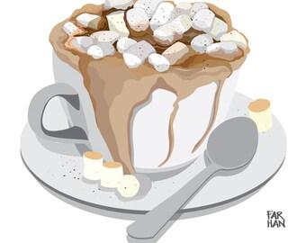 Cheat Days: Hot Chocolate and Marshmallows Digital Illustration Print