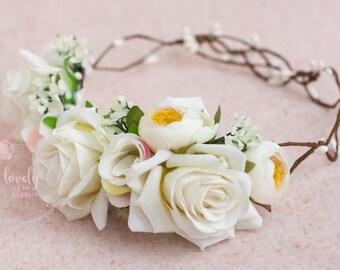Flower Crown, Flower Halo, Floral Head Wreath, Floral Halo, Floral Halo, Flower Crown Girl, Flower Girl Halo, Flower Girl Wreath, Bridesmaid
