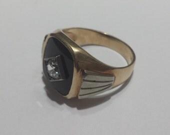 Vintage 10K Yellow Gold Men's Signet Ring