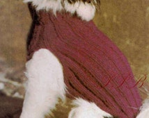 Knitted Dog Coat --- Small Dog Pattern --- PDF Knitting Pattern --- Great Market or Fair Item --- Digital Download