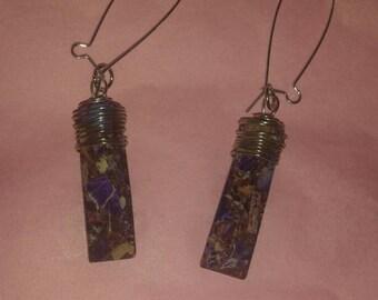 Purple & Brown Speckled Earrings
