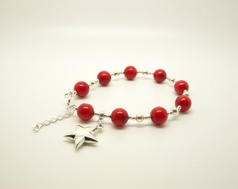 Red Coral  Silver Beaded Bracelet with Star Charm