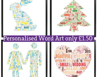 Personalised Word Art YOUR OWN WORDS only 1.50