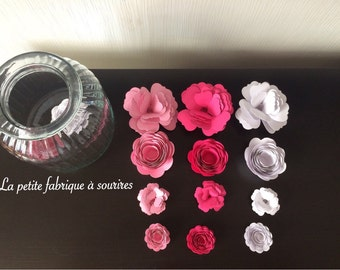 12 paper for wall decoration flowers