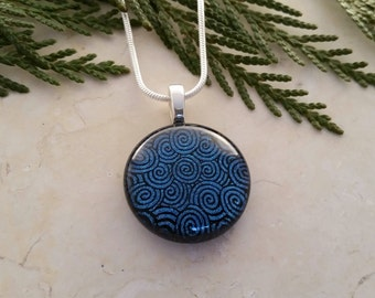 Round Fused Glass Pendant, Dichroic Glass with Steely Blue Swirls with Black Accents 16101