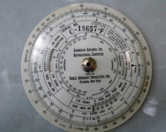 Vintage 1933 American Airlines Flight Navigation Instrument Computer - Air Plane