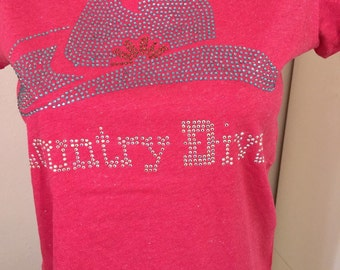 Country diva bling on pink glitter tee