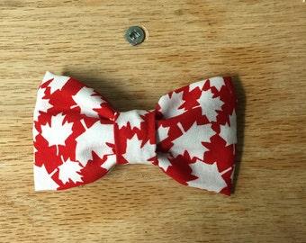 Canadian patriotic clip on bow tie