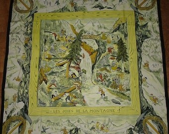 """HERMES Silk Scarf """"The joys of the mountain"""" by cleric 1946 / PROMOTION! Free shipping. COLLECTIBLE rare Hermes"""