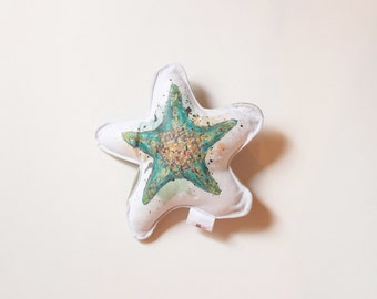 Pet printed / Starfish / Turquoise / toy, decoration / sea theme / Quebec / recycled / Marie-Eve Pharand