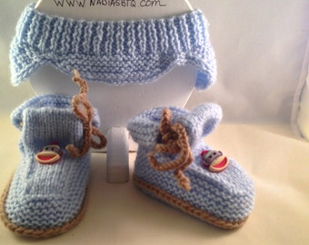 Blue Headband for boy and booties