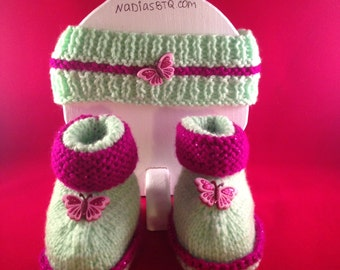Green headband and booties  with butterfly