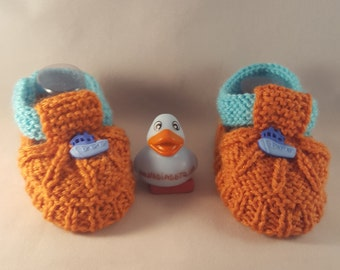 Ship baby booties, orange booties, Baby booties with a ship. accessories,  toddler socks baby booties and hat,  boy socks baby booties