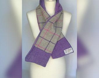Harris Tweed scarf purple windowpane check