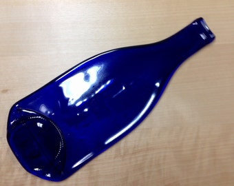 Imperfect Cobalt Blue Glass Melted Wine Bottle Cheese Tray, Spoon Rest