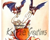 Apple Cider Fruit Bats Watercolor Wall Art Fall Leaves Original Illustration