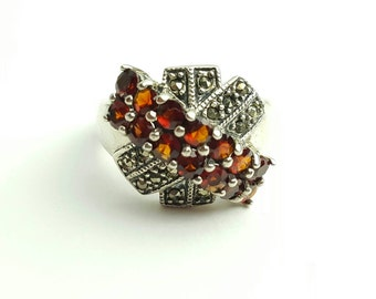 Vintage Sterling Silver, Garnet, and Marcasite Ring- Size 7.5