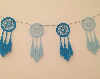 paper garland decoration Blue Dreamcatcher