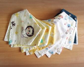 Pick any 5 - Handkerchief Bibs/Bandana bibs/Baby bibs/Gauze Bibs