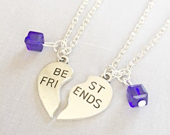 Silver Best Friends Necklaces - Set of Two Friendship Necklaces,Blue Crystal bff, Bff Charm, Best Friend, Friend Gift, Best Friend Jewelry