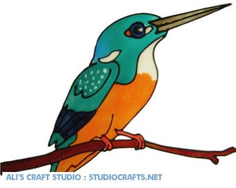 Beautiful Kingfisher Handpainted Window Cling - get the look of stained glass  (Ref 674)