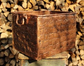 Copper handcrafted log holder basket