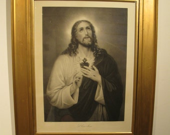 Antique Engraving of the Sacred Heart of Jesus - Religious Icon - Kunzli Freres Editeurs