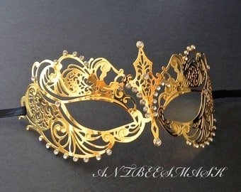 Venetian Carnival Princess Metal Masquerade Women Mask With Rhinestones