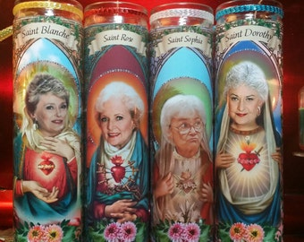 Golden Girls -  Dorothy, Sophia, Rose, Blanche, -set of 4 - Church Window Frame - Celebrity Saint Prayer Candles