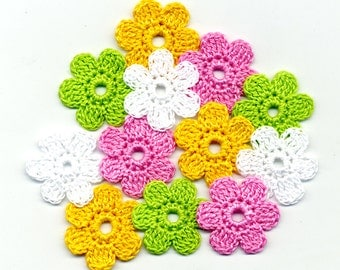 Crochet Flowers white green pink yellow Crochet Applique Flowers Handmade applique Flowers 2.5 cm 12 pcs Cotton Flowers bright colors
