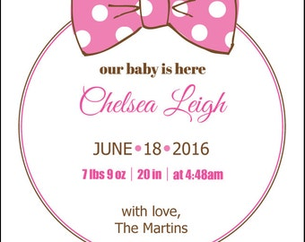 Girl Baby Announcement, Baby Announcement, New Baby, Baby Girl Announcement