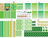 March Planner Stickers Kit, Erin Condren Vertical Planner Stickers, Mambi Happy Planner Sticker, St Patrick's Day Stickers, Green and Gold