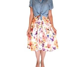 FLORAL HI-LO, Pleated Skirt