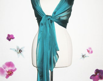 Large blue duck dark green emerald green chiffon scarf