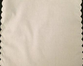 Handkerchief plain white with a white scalloped trim 100% cotton handmade