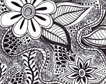 Black & White PRINT of Original Ink Drawing, Abstract, Flowers, Wall Art, Decor, Poster, Leaves, Print Nature, Botanical, Floral