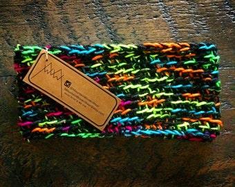Wide Crochet Headband - Black & Neon