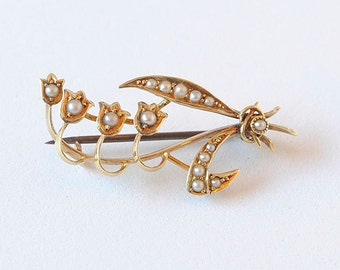 Vintage Antique Seed Pearl Pin in 14K Yellow Gold, Lillies of the Valley