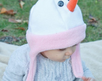 Fleece Hat Snowman with Chinstrap