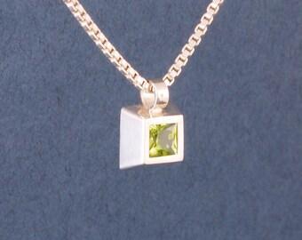 peridot cube pendant