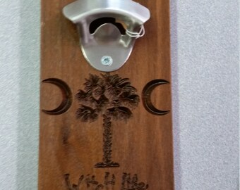 Walnut Bottle Opener Witch Life with magnet