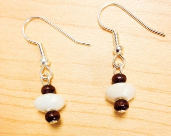 wooden and ceramic beaded earrings