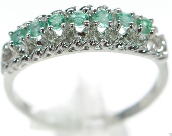 Natural emerald band, sterling silver, BEAUTIFUL light blue-green!