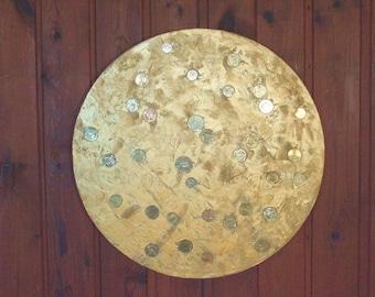 Gold painting round art original gift for new house  metallic art  mosaic decor textured painting modern art decor housewarming gift