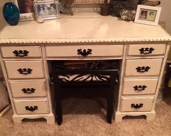 SOLD!  Vintage refurbished shabby chic oak desk, white chalk paint