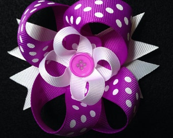Purple & White Polka Dot Hair Bow
