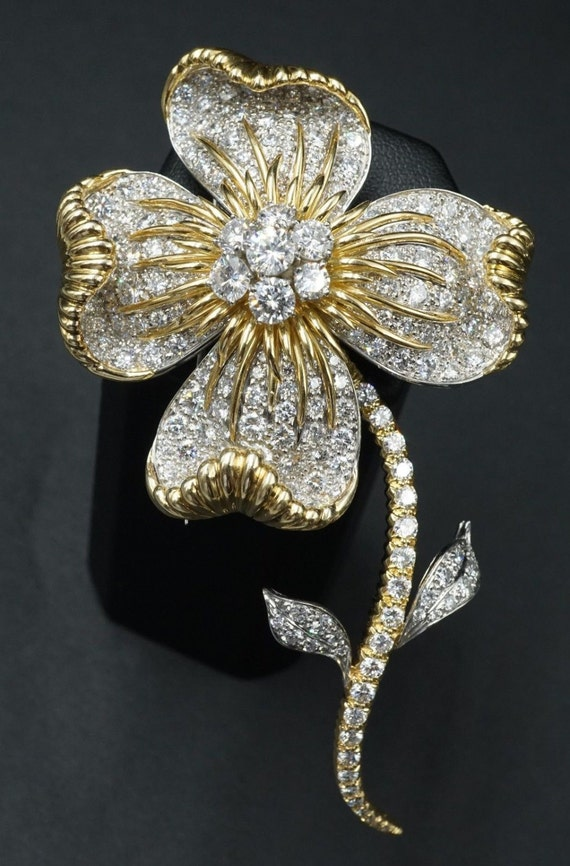 """18k Yellow Gold 10 ct Natural Diamond VS F-G Couture Floral Pin Brooch 4"""" CO078"""
