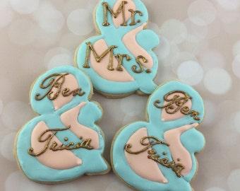 "Elegant, custom ""Mr. And Mrs."" Cookies"